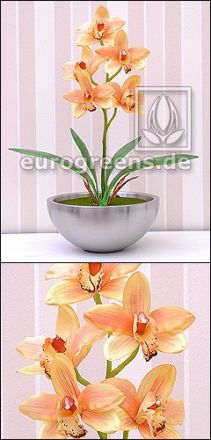 künstliche orange Cymbidium Orchidee ca. 50cm