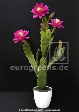 künstlicher blühender Kaktus 60cm