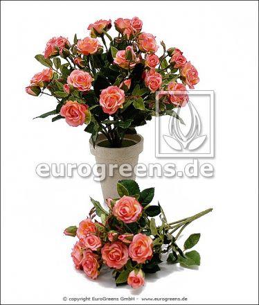 künstlicher Diamanten Rosen-Busch ca. 25cm rosa (mit Einsteckstab/ungetopft)