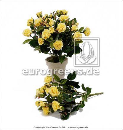 künstlicher Diamanten Rosen-Busch gelb ca. 25cm (mit Einsteckstab/ungetopft)