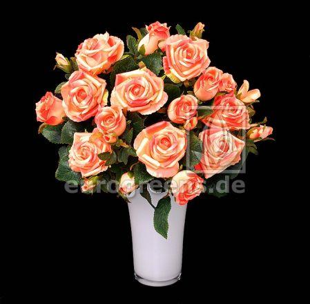 künstlicher Rosen-Strauß apricot 50cm hoch (mit Einsteckstab/ohne Vase)