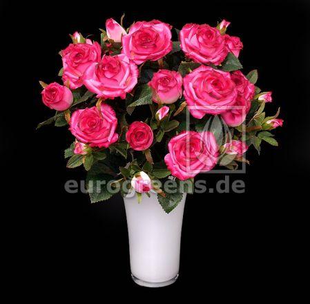 künstlicher Rosen-Strauß pink ca. 50cm hoch (mit Einsteckstab/ohne Vase)
