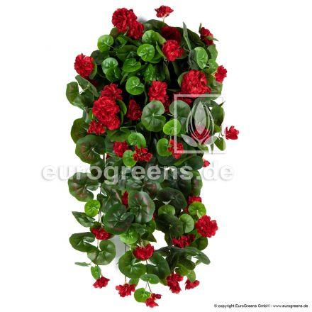 Kunstblume Hängegeranien rot ca. 70cm (mit Einsteckstab/ungetopft)